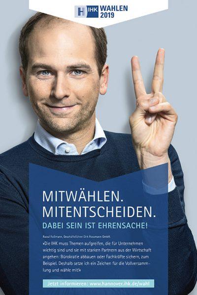 Werbeaufnahmen mit Raoul Roßmann Testimonialkampagne Wahl 2019 Vollversammlung IHK Hannover von Fotograf Daniel Möller Hannover