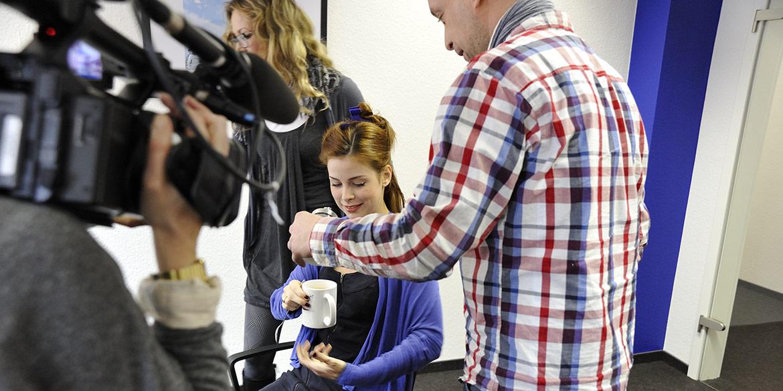 Making-of-Bild mit Lena Meyer-Landrut für Testimonial-Anzeigen zum 60. Geburtstag des Hannover Airport Fotograf Daniel Möller Hannover