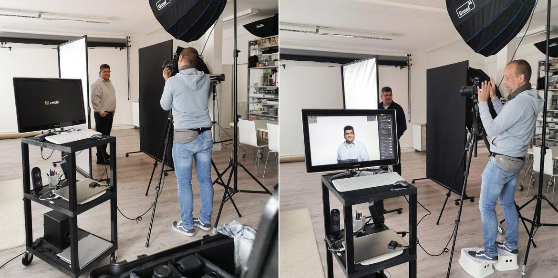 Making-of-Bild Businessportraits Alexander Ruhe Mewes Oberflächen GmbH mit Fotograf Daniel Möller aus Hannover
