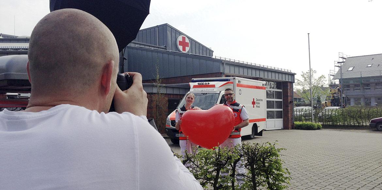 """Making-of-Bild Kampagne """"Kreuz drauf. Herz drin. Dein DRK in Schaumburg."""" Fotograf Daniel Möller Hannover"""