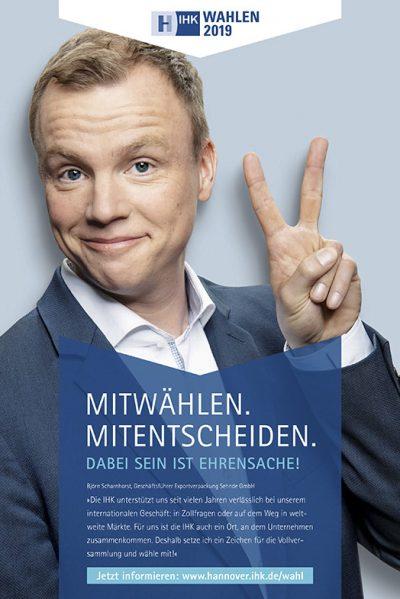 Anzeige mit Björn Scharnhorst für die Testimonialkampagne zur Wahl 2019 Vollversammlung IHK Hannover von Fotograf Daniel Möller Hannover