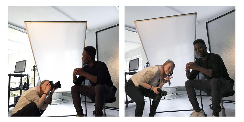 """Making-of-Bild Auszubildende Werbeaufnahme """"Schmuck am Körper"""" für Berichtsheft mit Fotograf Daniel Möller"""