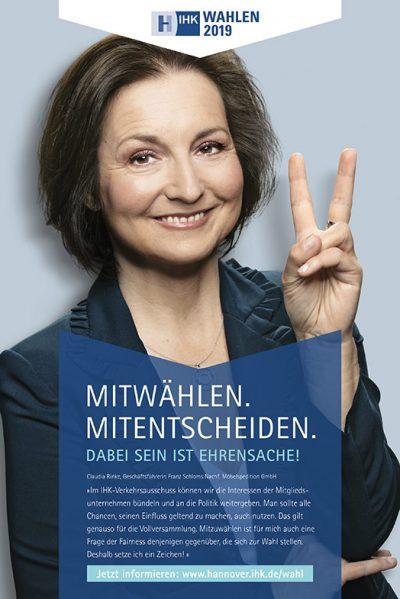 Anzeige mit Claudia Rinke für die Testimonialkampagne zur Wahl 2019 Vollversammlung IHK Hannover von Fotograf Daniel Möller Hannover
