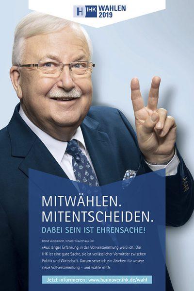 Anzeige mit Bernd Voorhamme für die Testimonialkampagne zur Wahl 2019 Vollversammlung IHK Hannover von Fotograf Daniel Möller Hannover