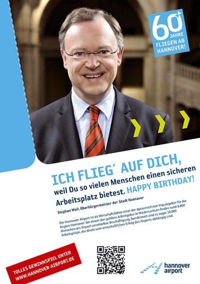 Testimonial-Anzeige mit Stephan Weil zum 60. Geburtstag des Hannover Airport Fotograf Daniel Möller Hannover