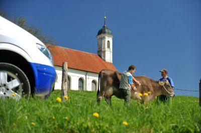 Werbeaufnahmen Vet-Mobil der WDT an der Wieskirche im Allgäu von Daniel Möller Fotograf Hannover