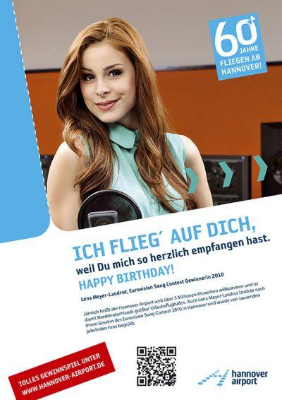 Testimonial-Anzeige mit Lena Meyer-Landrut zum 60. Geburtstag des Hannover Airport Fotograf Daniel Möller Hannover