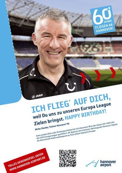 Testimonial-Anzeige mit Mirko Slomka von Hannover 96 zum 60. Geburtstag des Hannover Airport Fotograf Daniel Möller Hannover