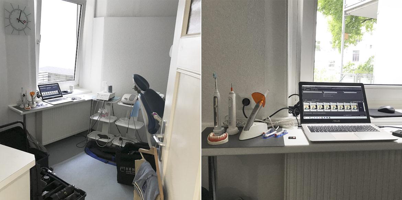 Making-of-Bild Mitarbeiterportraits und Imageaufnahmen Zahnarztpraxis Jan Paul mit Fotograf Daniel Möller aus Hannover