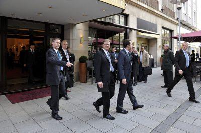 Reportageaufnahme Guido Westerwelle beim Besuch Wen Jiabao in Kastens Hotel Luisenhof Hannover